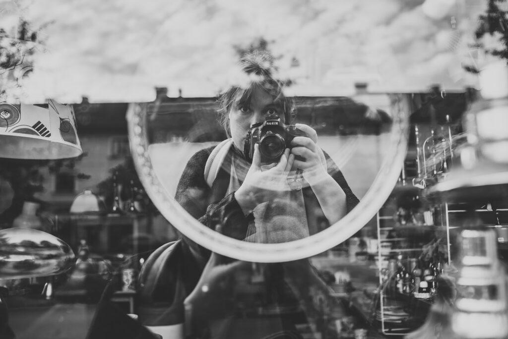 Self portrait in mirror. Taken at Älvsborgsgatan in Gothenburg.