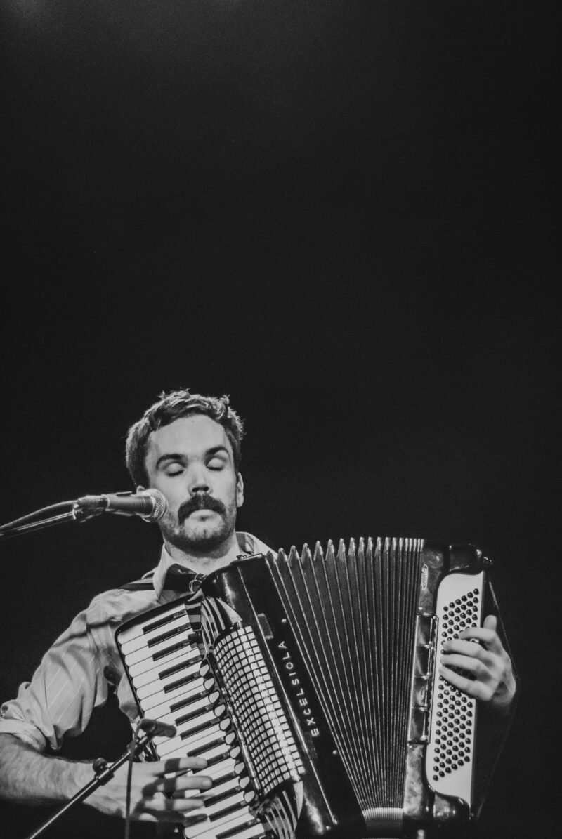 Jeremy Barnes of A Hawk and a Hacksaw playing accordion