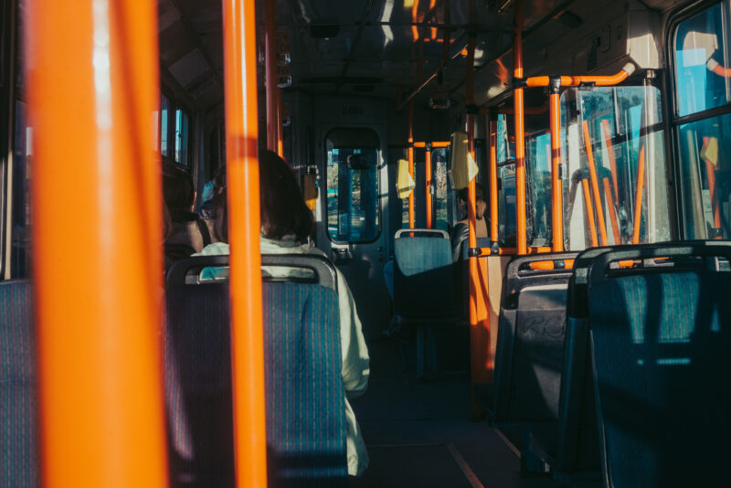 People riding on a trolleybus
