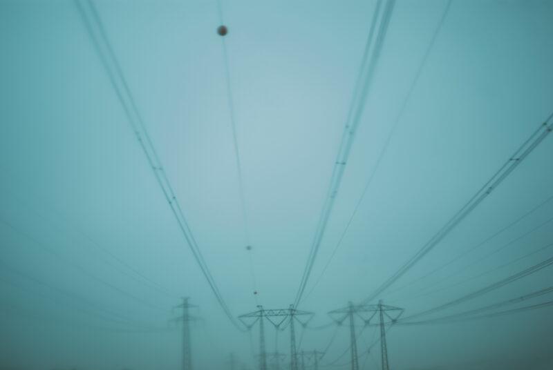 Power lines in deep fog