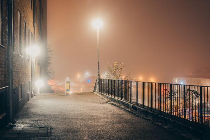 Backstreet on a foggy night