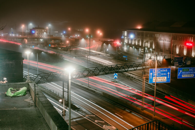 Night trafic at Oscarsleden in Gothenburg