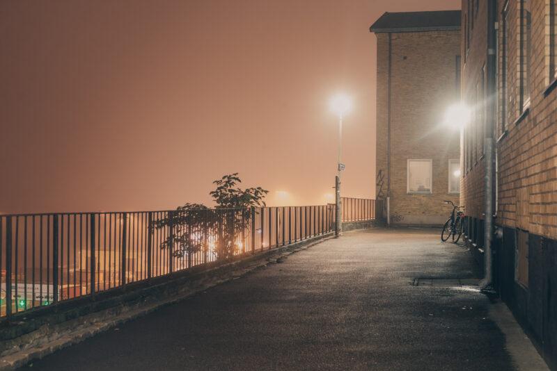 Street on a foggy night