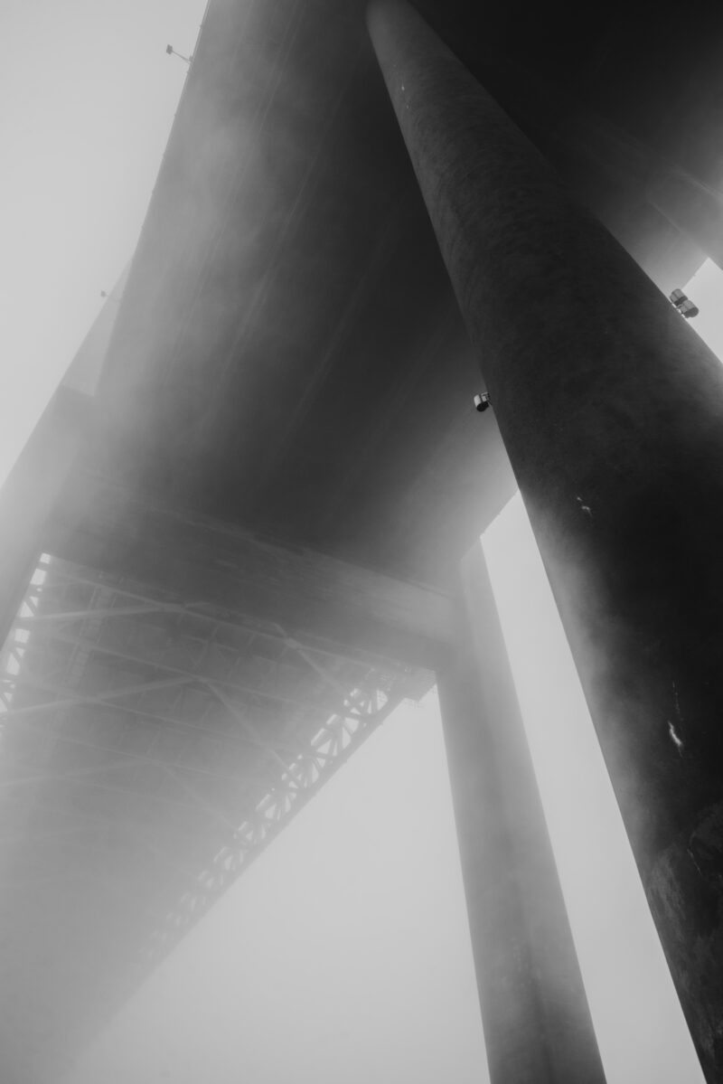 Bridge in thick fog seen from a frog's view