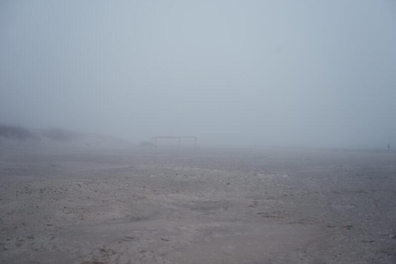 Empty beach on a foggy day