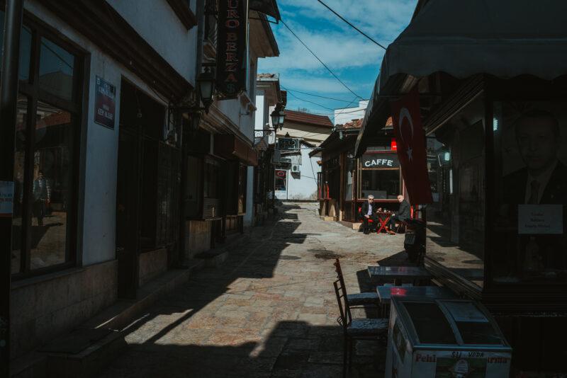 Two old men having a coffee in the bazaar of Skopje