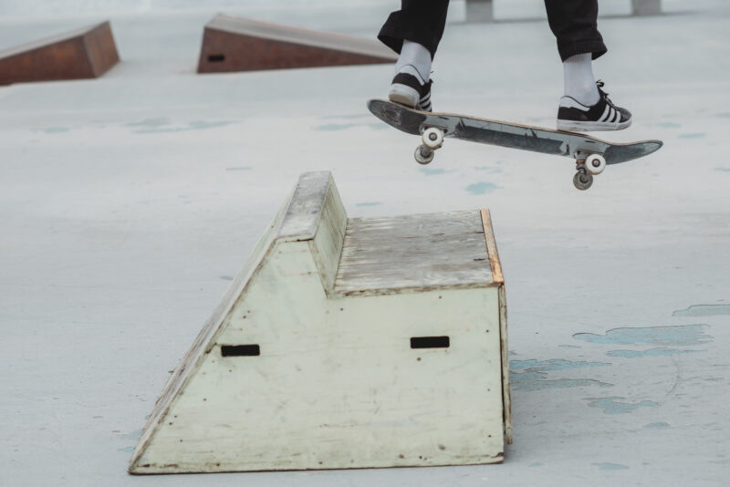 Person on skateboard making a jump