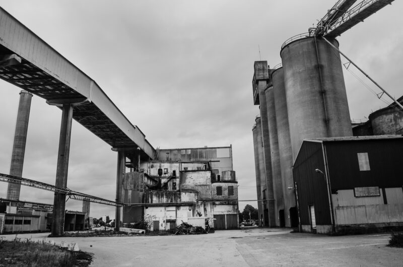 Old industrial buildings and a silo