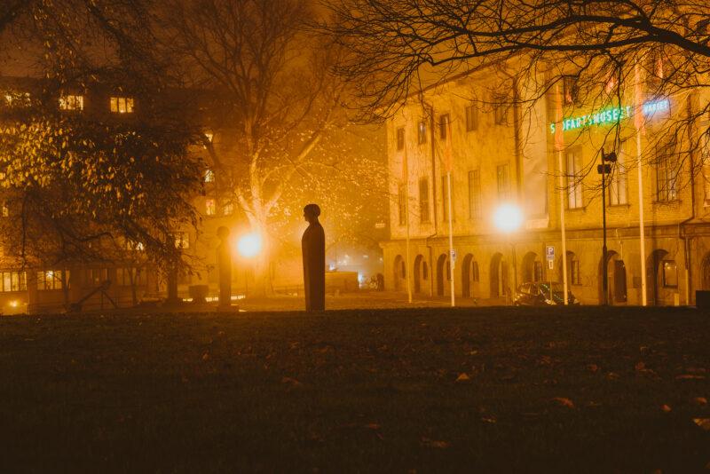 Bust in a foggy park