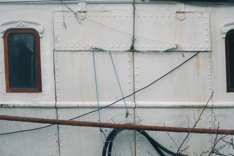Details from the side of a white boat