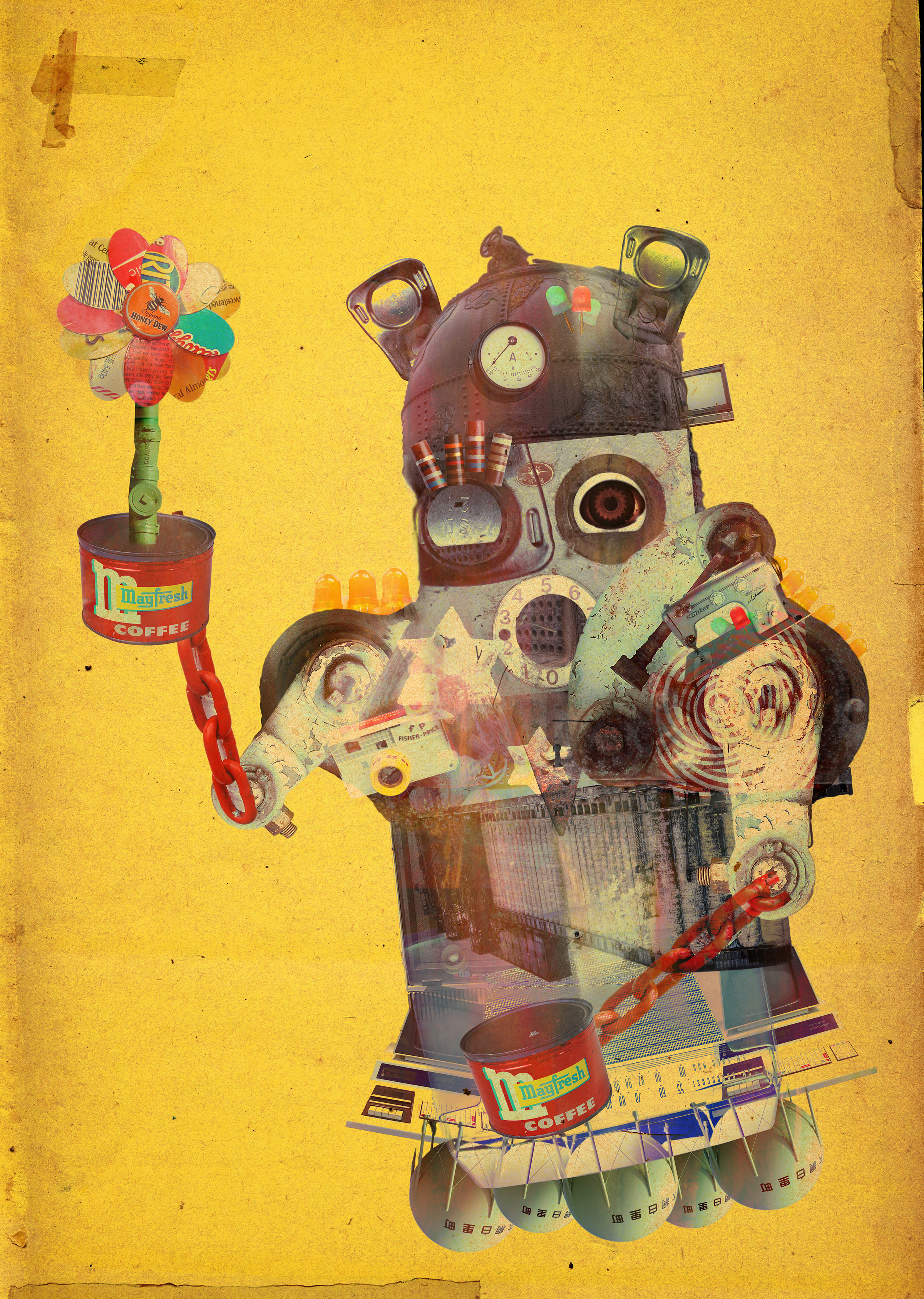 A collage technique illustration of a robot holding a flower.