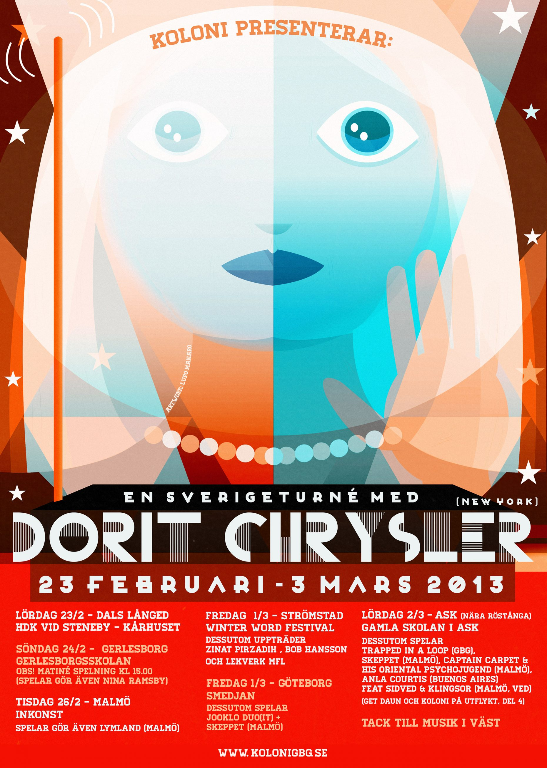 Poster for Dorit Chrysler's 2013 tour in Europe.