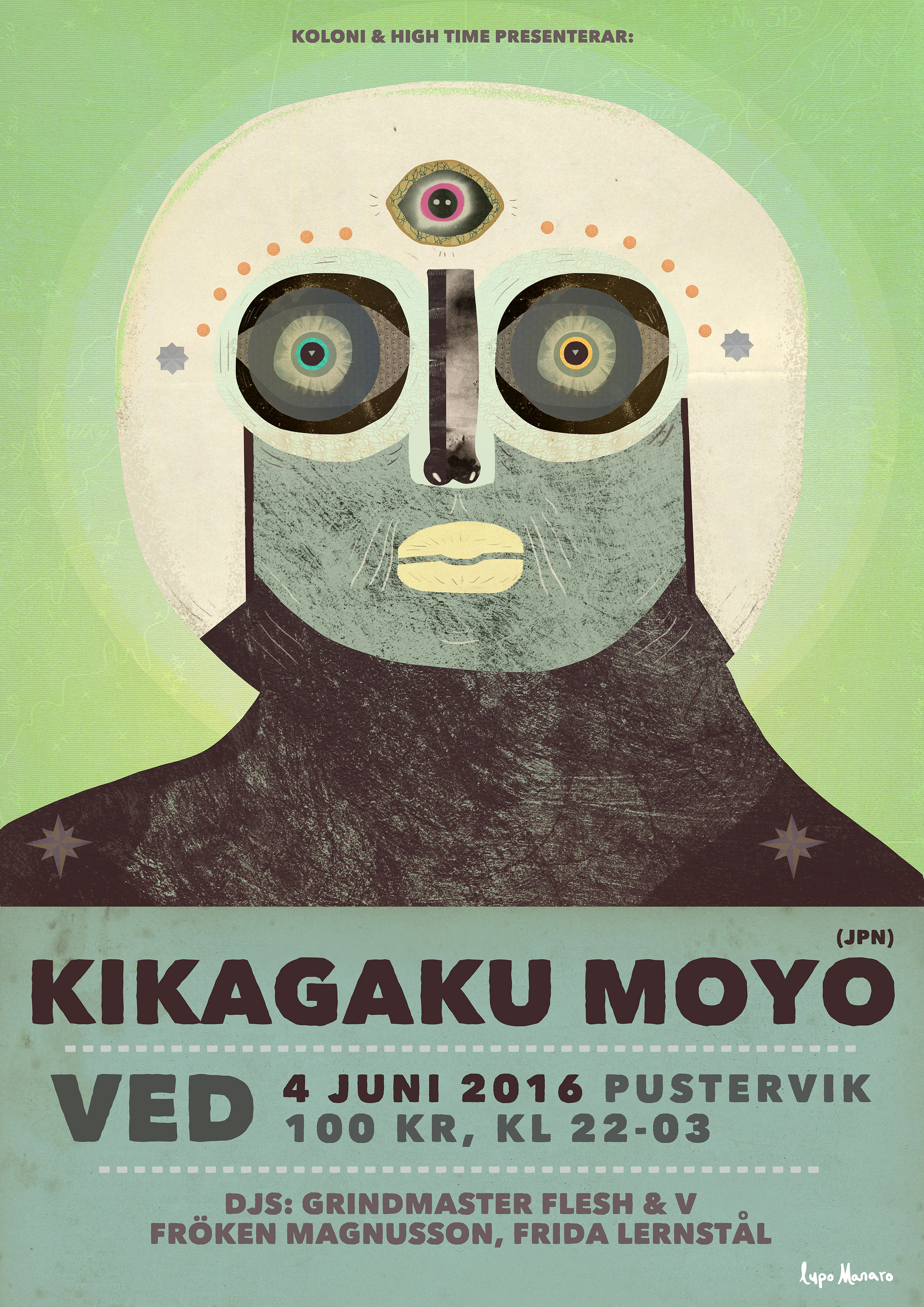 Collage in green with kosmonaut.