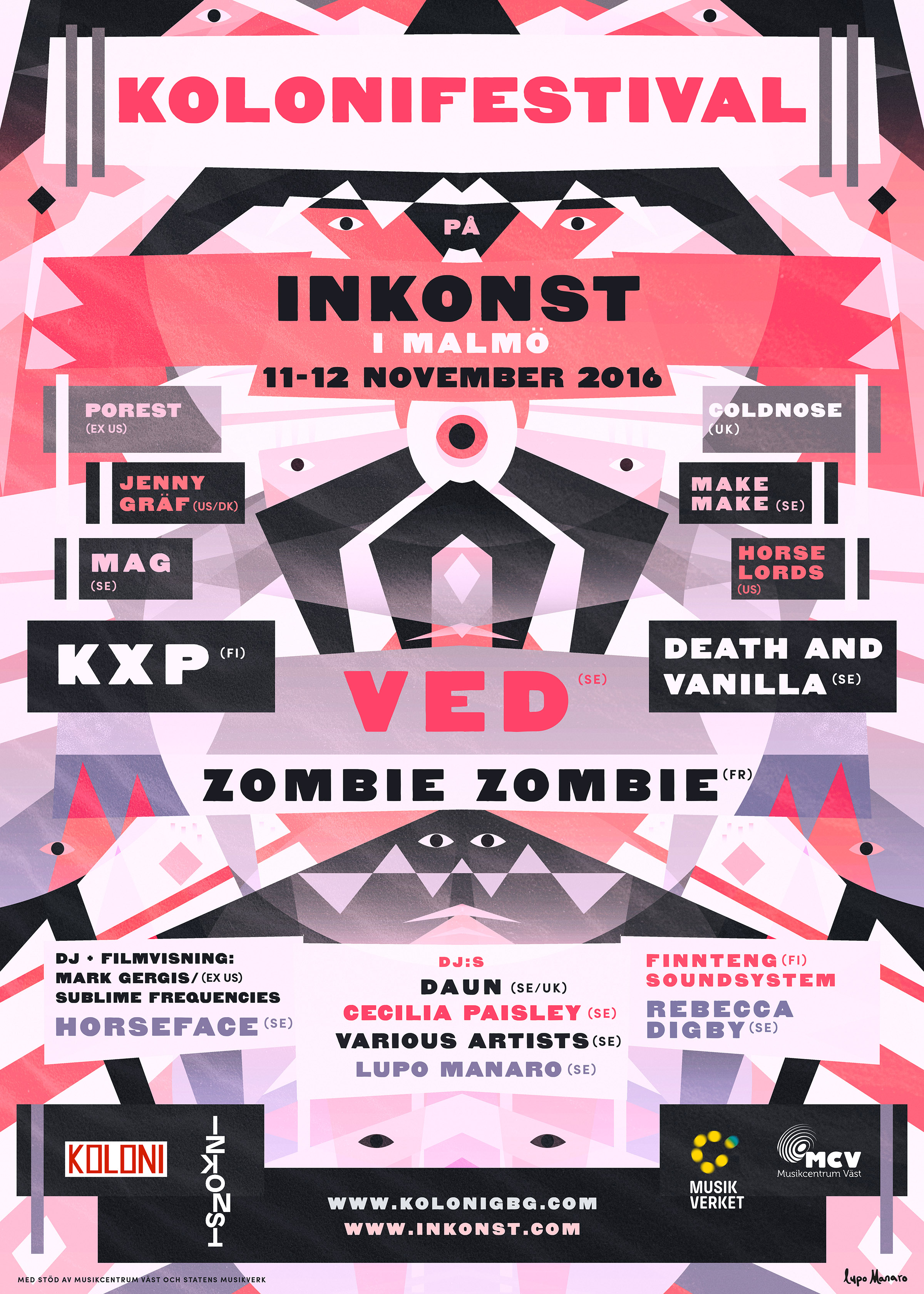 Poster for Kolonifest at Inkonst featuring abstract elements in purple, black and pink.