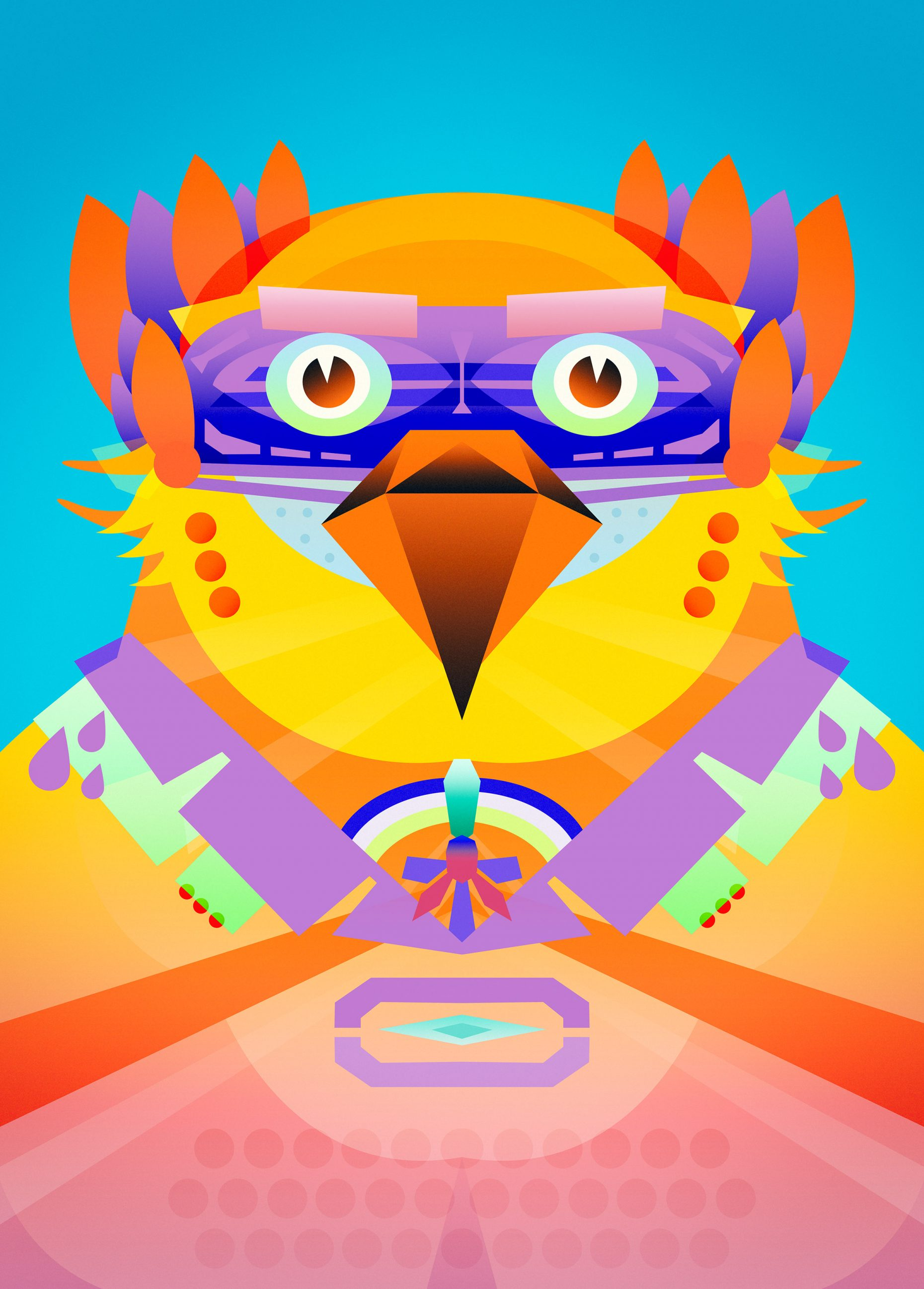 A portrait of a colourful bird.