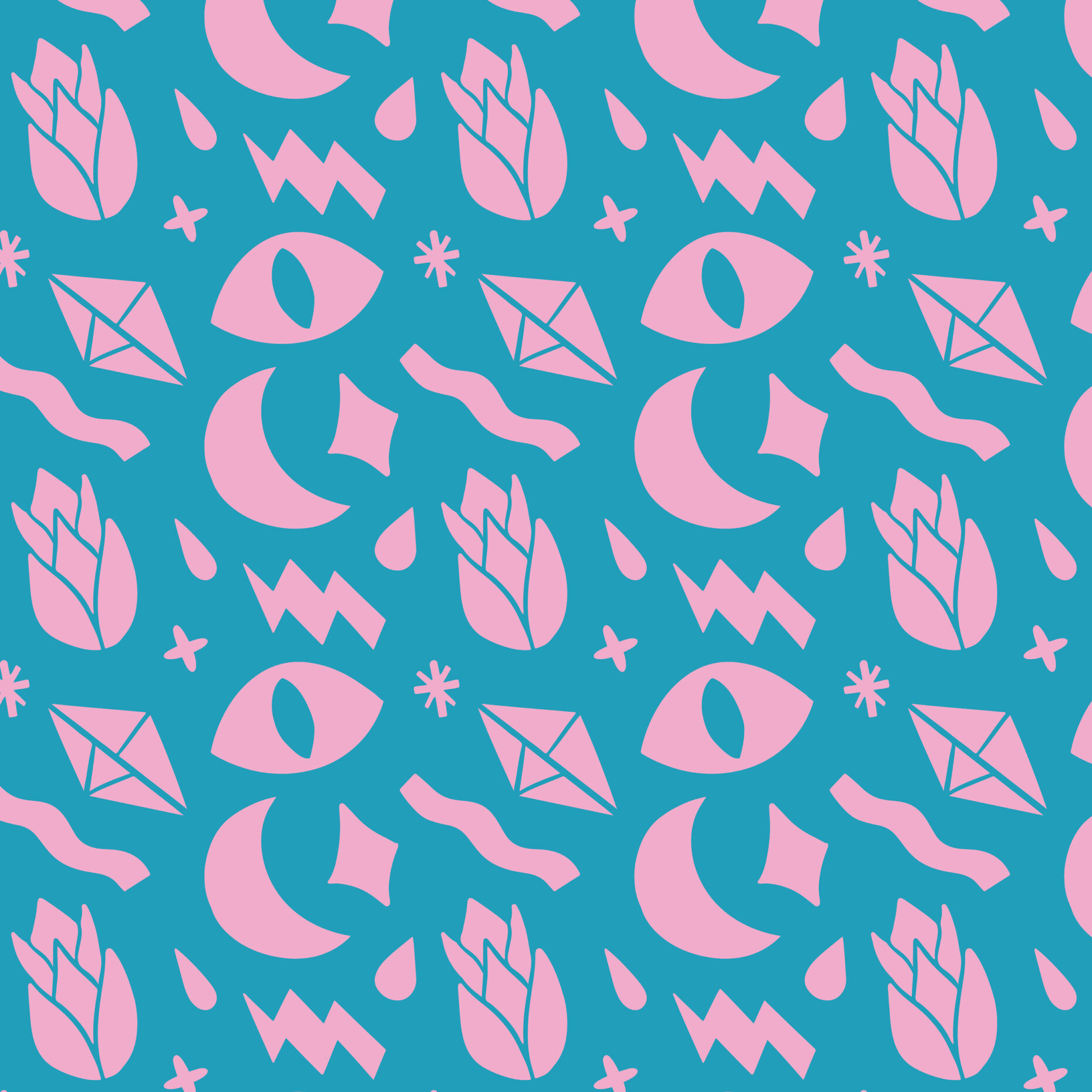 Pattern featuring eyes, moon, flash and diamonds